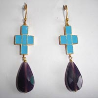 Enamel Cross Earrings