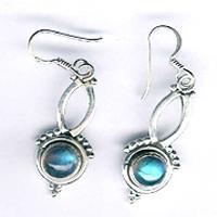 Silver Cabochon Stone Earrings- E-609