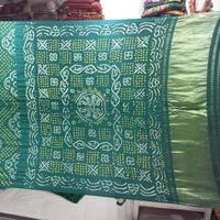 Bandhani Sarees Gaji Green