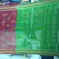 Bandhani Sarees Green N Red