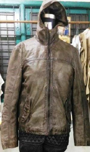 Mens Hooded Lamb Nappa Jacket