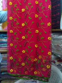 Ladies Applique,patchwork Net Saree