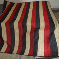 Black And Red Embroidered Raw Silk King Size Bed Cover / Carpet / Blan