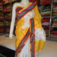 Designer Fancy Embroidered Resham Work Crepe Silk Saree