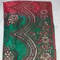 Designer Gold Banarsi Printed Tissue Party Wear Saree Green Colour