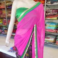 Designer Half Half Printed Georgette Pink And Black Saree