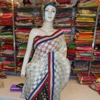 Designer Half Half Zari Work Printed Cotton Saree