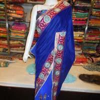 Designer Half Net Zari Work Border Purple Saree