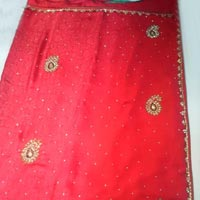 Designer Handwork Red Color Party Wear Sarees