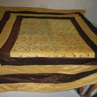 Designer Heavy Embroidered Pakistani Bed Cover King Size Yellow Colour