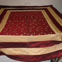 Designer Heavy Embroidered Pakistani Bed Cover King Size Red Colour