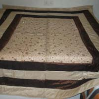 Designer Heavy Embroidered Pakistani Bed Cover King Size Cream Colour