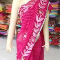 Designer Lharia Zari Work Border Georgette Pink Saree