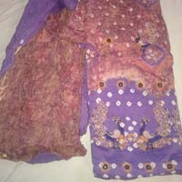 Designer Purple Embroidered Cotton Sanganeri Printed Punjabi Suits
