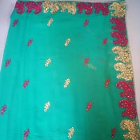 Fancy Work Resham Border Party Wear Sarees