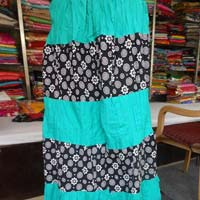 Sky Blue Sanganeri Printed Cotton Skirt