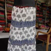 White  Sanganeri Printed Cotton Skirt