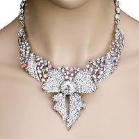 Ribbon Bib Necklace Earrings