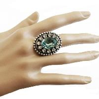 Silver Plated Green Crystals Adjustable Cocktail Ring