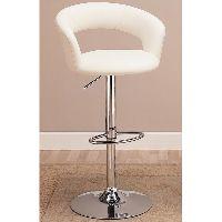 Round Bar Stool In White