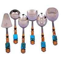 ROYAL BLUE WITH GOLDEN SERVING SET  WITH ASSORTED LADLES