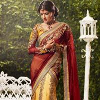 Elegent Yellow And Red Color Designer Party Wear Lehenga Saree