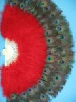 Double Row Peacock Feather Fans