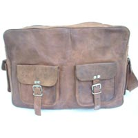 Vintage Goat Leathe Vanity Bag With Front Pockets