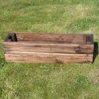 wood rectangular planter