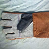 Cotton Jean Leather Gloves