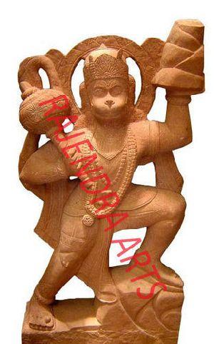 Red Stone Hanuman Statue