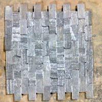 Black Slate Mosaic, Natural Stone, Kashmir White Marble