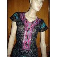 Embroidered Neck Cotton Black Kurti