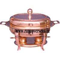 Oval Shape Copper Food Warmer