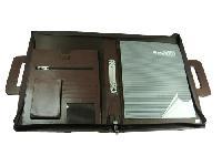 Essart PU Leather Handle Folder with zipp closure-FL-1004-Brown