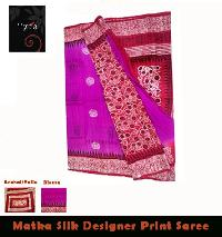 Matka Silk Block Printed Saree