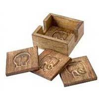 Carved Wooden Tea Coaster Set