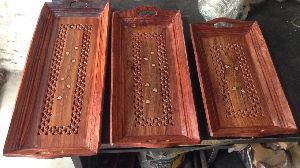wooden coffee tray set