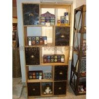 Wooden Bookshelf With Match Pattern