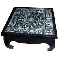 Wooden Coffee Table with Orissa Hand Work