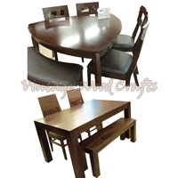 Wooden Dining Table Set with Wooden Bench