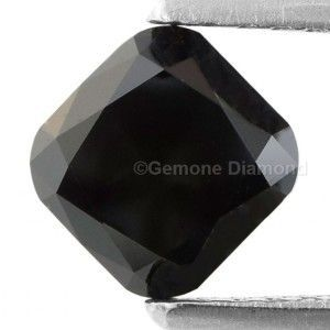Opaque Black Natural Loose Cushion Cut Diamonds