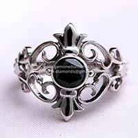 Black Moissanite Sterling Silver Ring