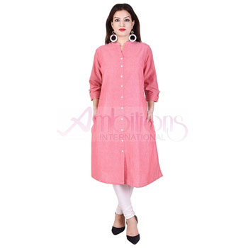Ladies Cotton Slub Long Kurtis