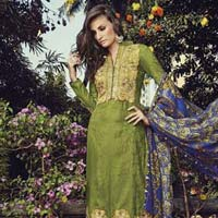 Glace Cotton Jacquard With Embroidery Suit