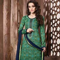 Pure Cotton  Satin Print With Work Suit