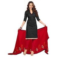 Black Chanderi Silk Dress Material