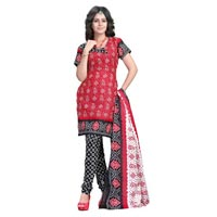Red Unstitched Salwar Suit