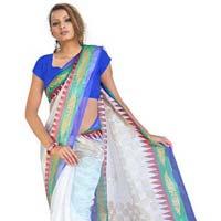 White And Blue Designer Net Saree