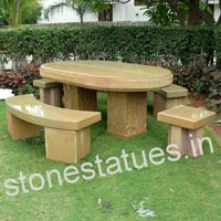 Stone Bench & Table Set